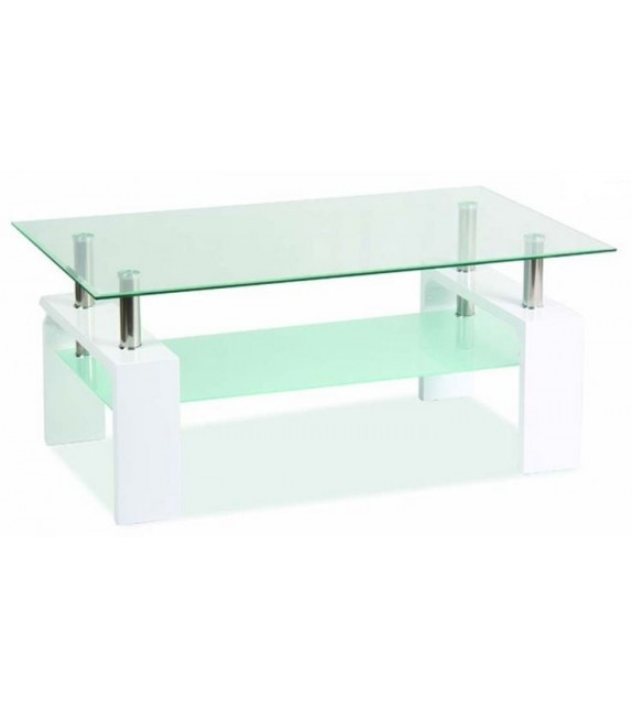 BRW LISA BASIC Üveg dohányzóasztal fehér