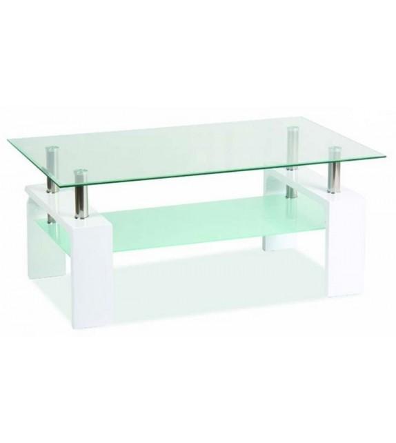 BRW LISA BASIC Konferenčný stolík sklenený biely lesk