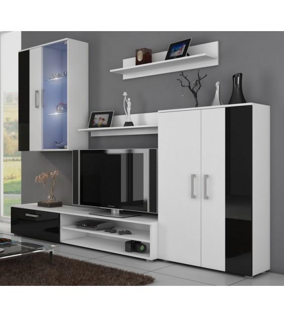 WIP STELLA LESK biely mat/čierny lesk obývacia stena