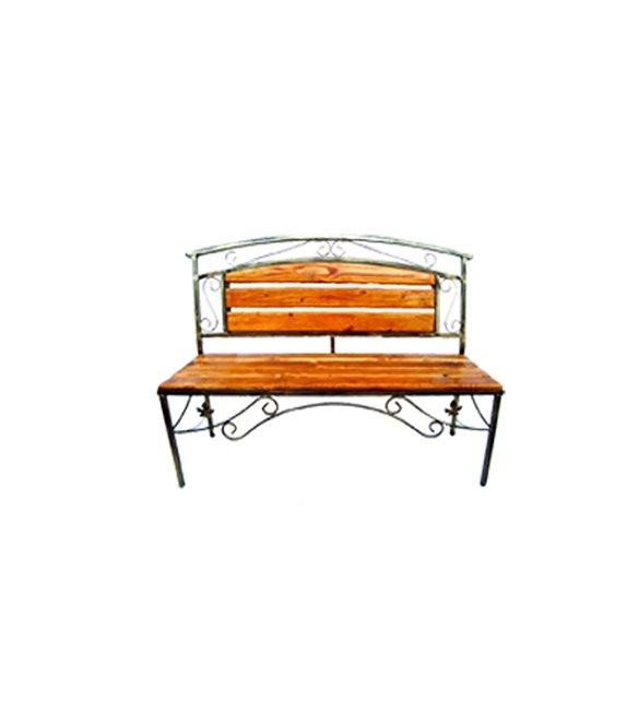 Kovová lavička s dreveným sedením velká