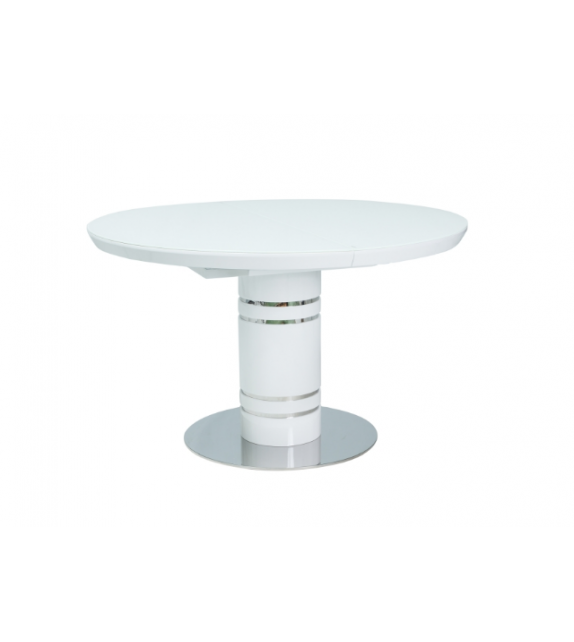 aa479355f4c2 BRW STRATOS Jedálenský stôl okrúhly rozkladací biely 120