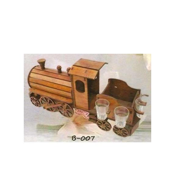 Drevená dekorácia s pohárikmi B-007 rušeň