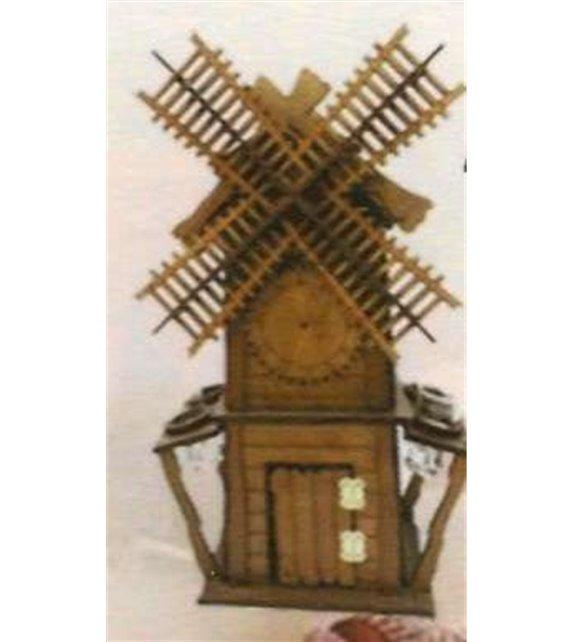Drevená dekorácia s pohárikmi B-011 veterný mlyn
