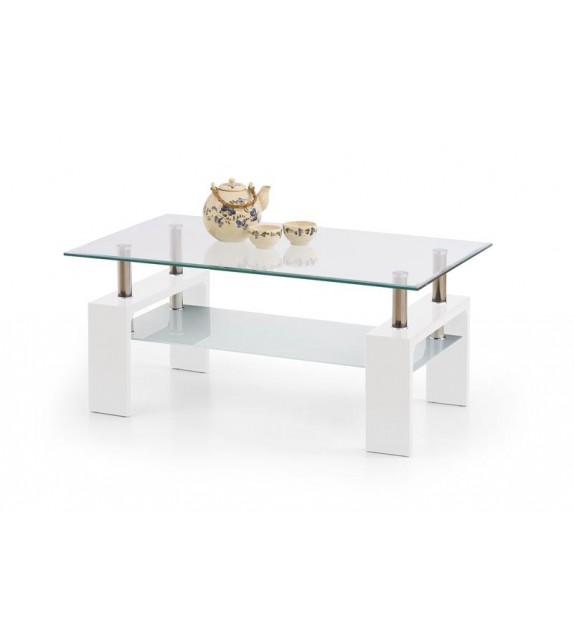 HALMAR Konferenčný stolík sklenený DIANA INTRO biely lesk