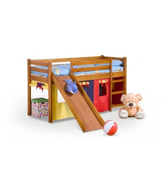 BRW NEO PLUS Detská vyvýšená posteľ  so šmýkačkou